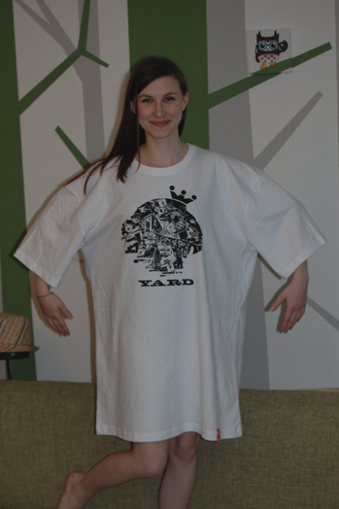 XXS girl in XXL shirt